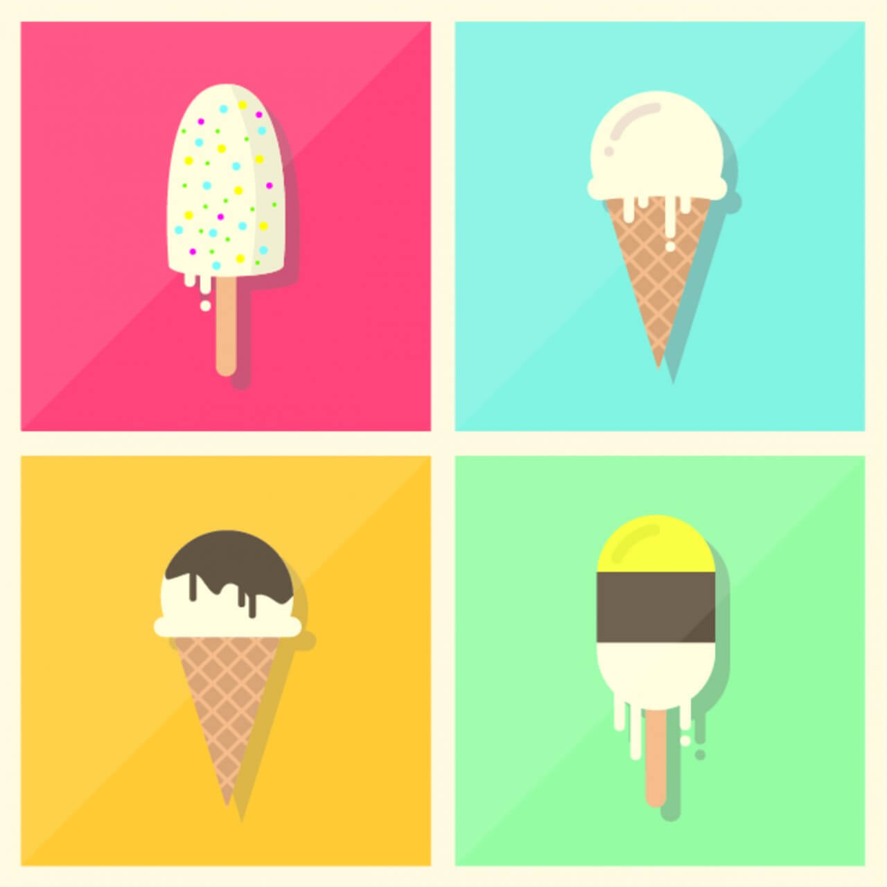 "Free vector ""Retro Vintage Flat Ice Cream Collection"""