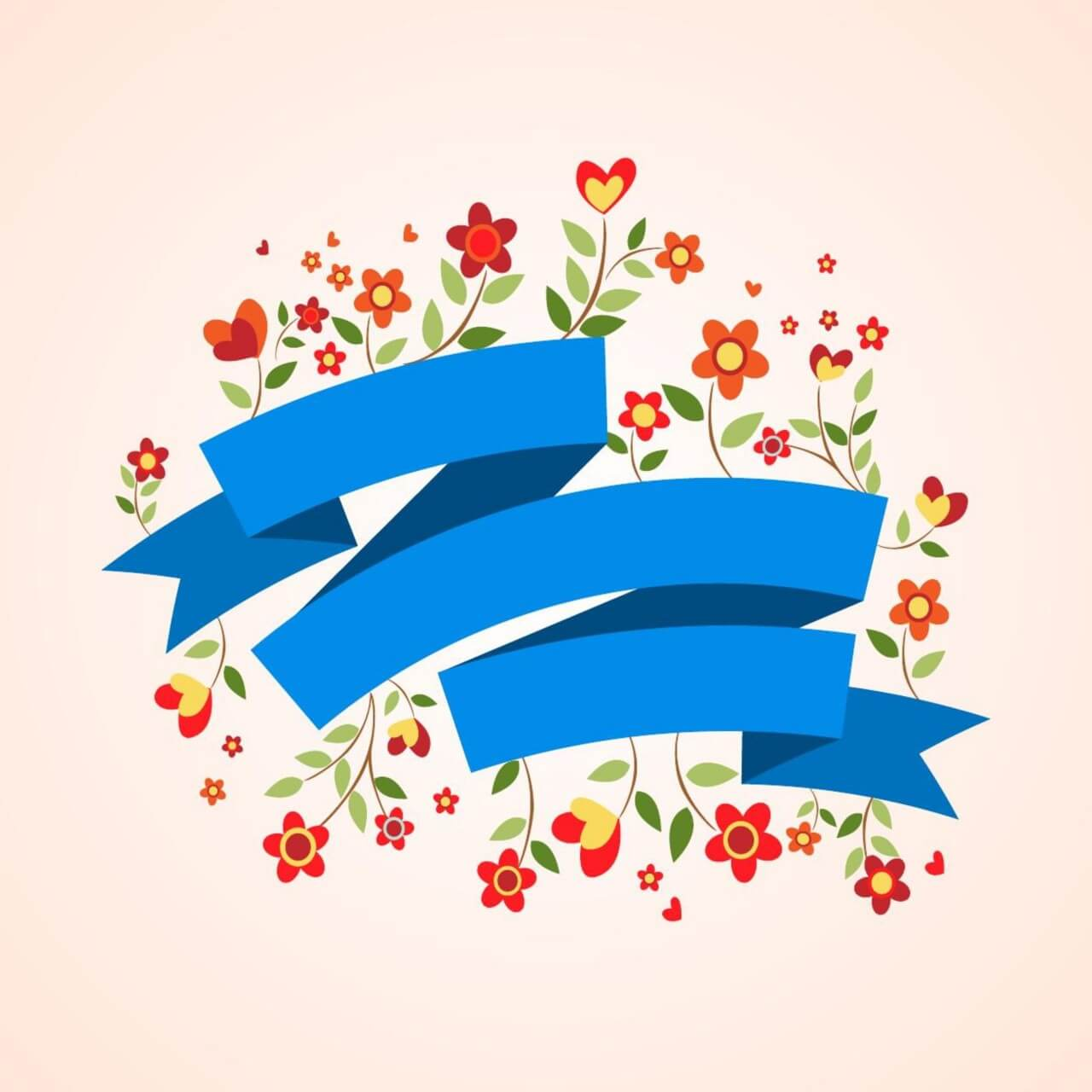 "Free vector ""Ribbon and flowers"""