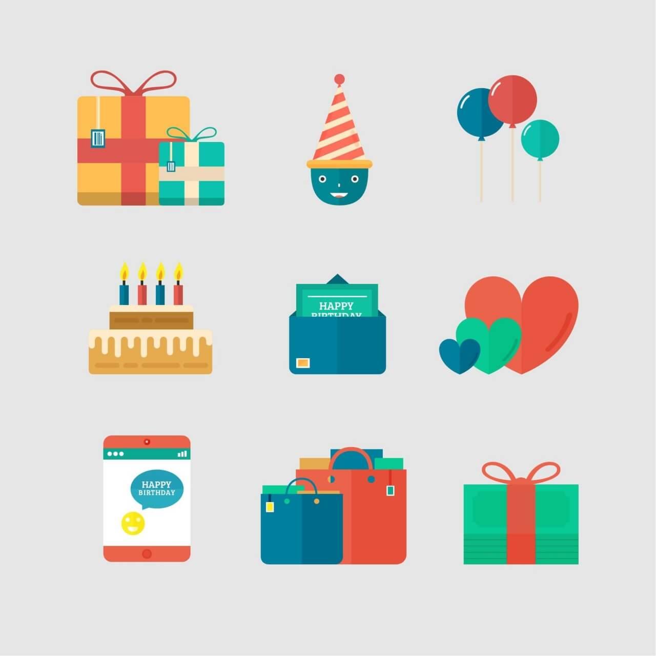 "Free vector ""Birthday Icons"""