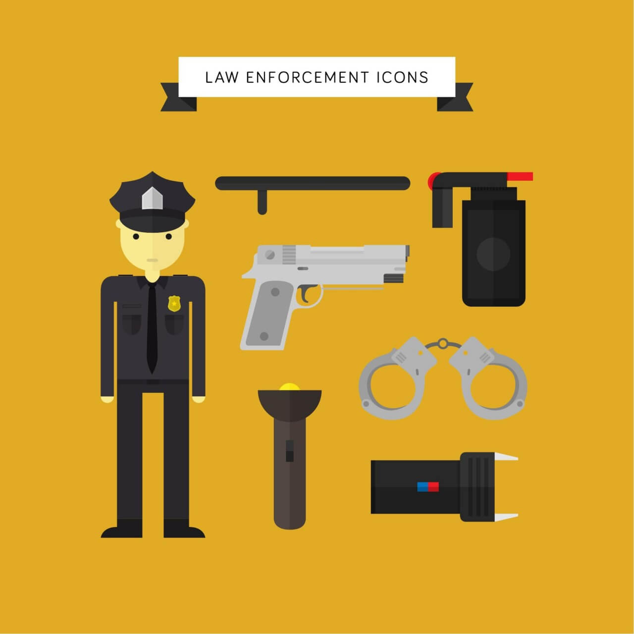 "Free vector ""Law Enforcement Icons"""