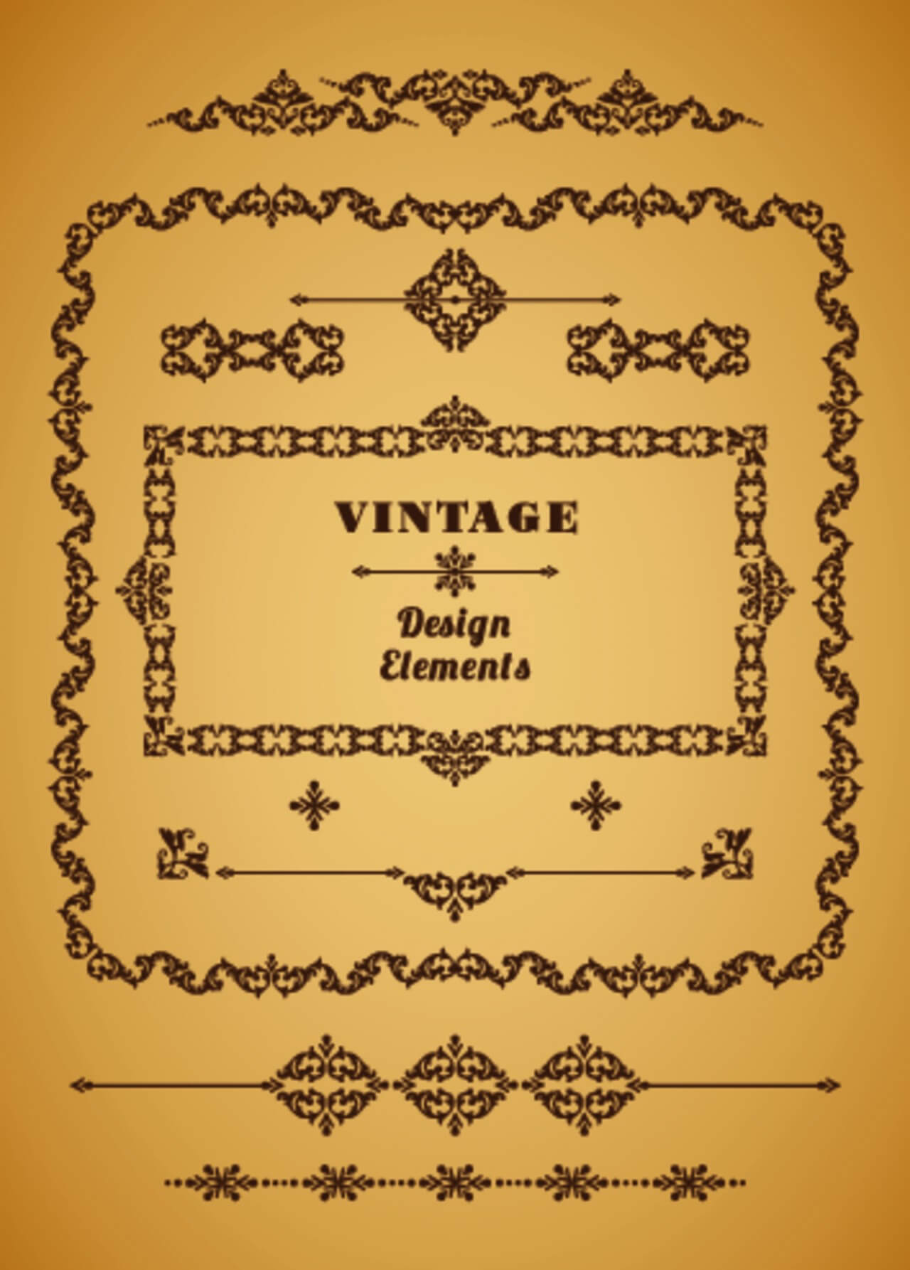 "Free vector ""Set of Retro Vintage Frames and Borders. Design elements."""