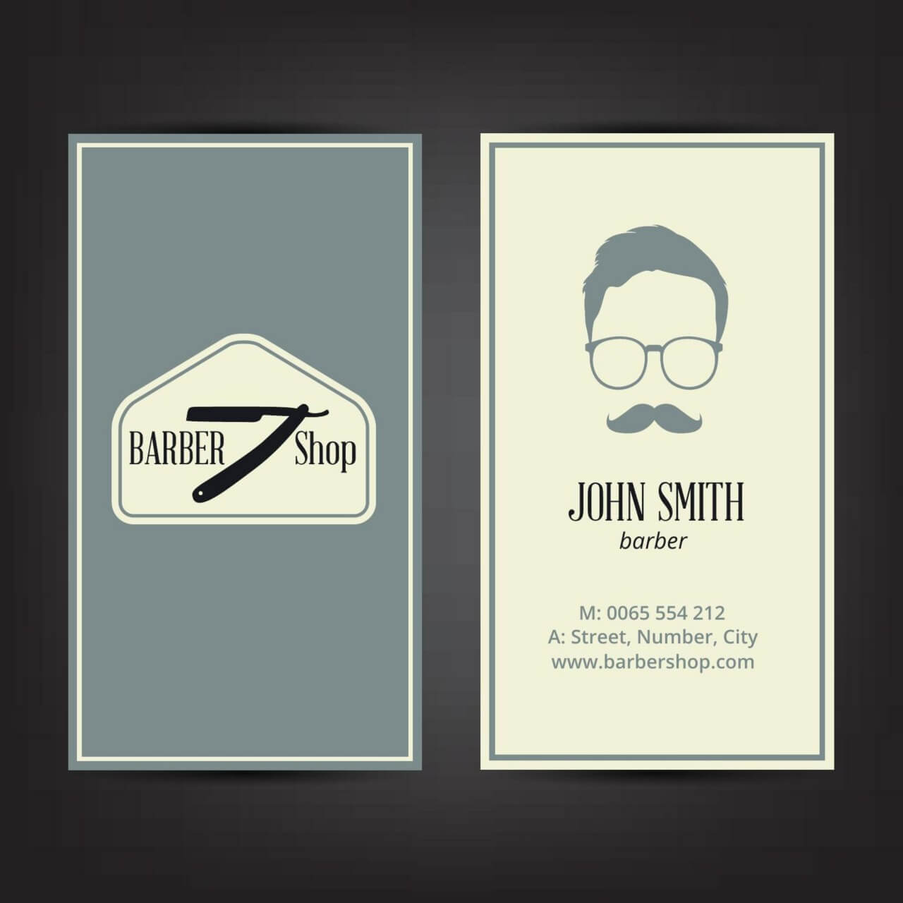 "Free vector ""Barber shop business card"""