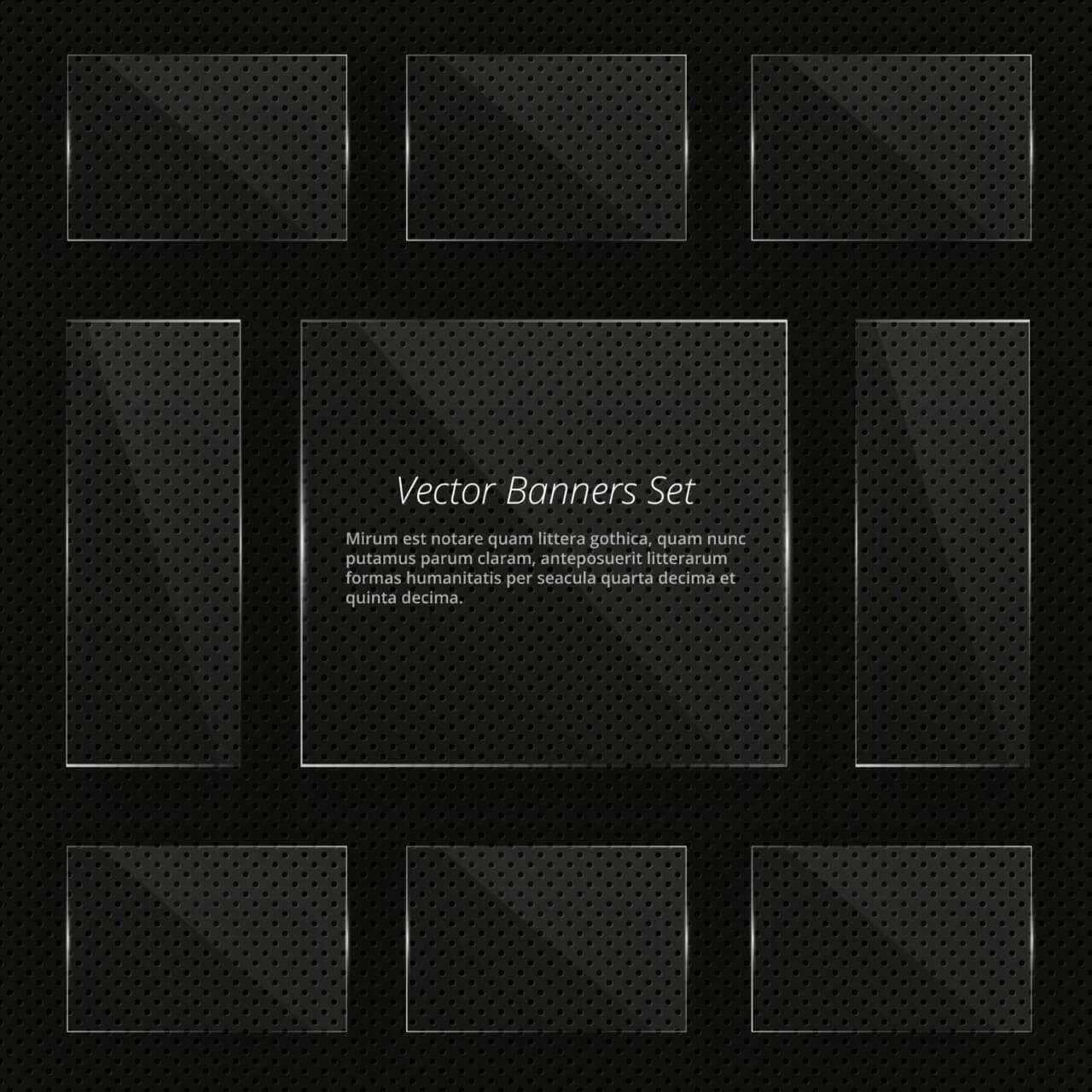 "Free vector ""Glass vector banners with shiny lights"""