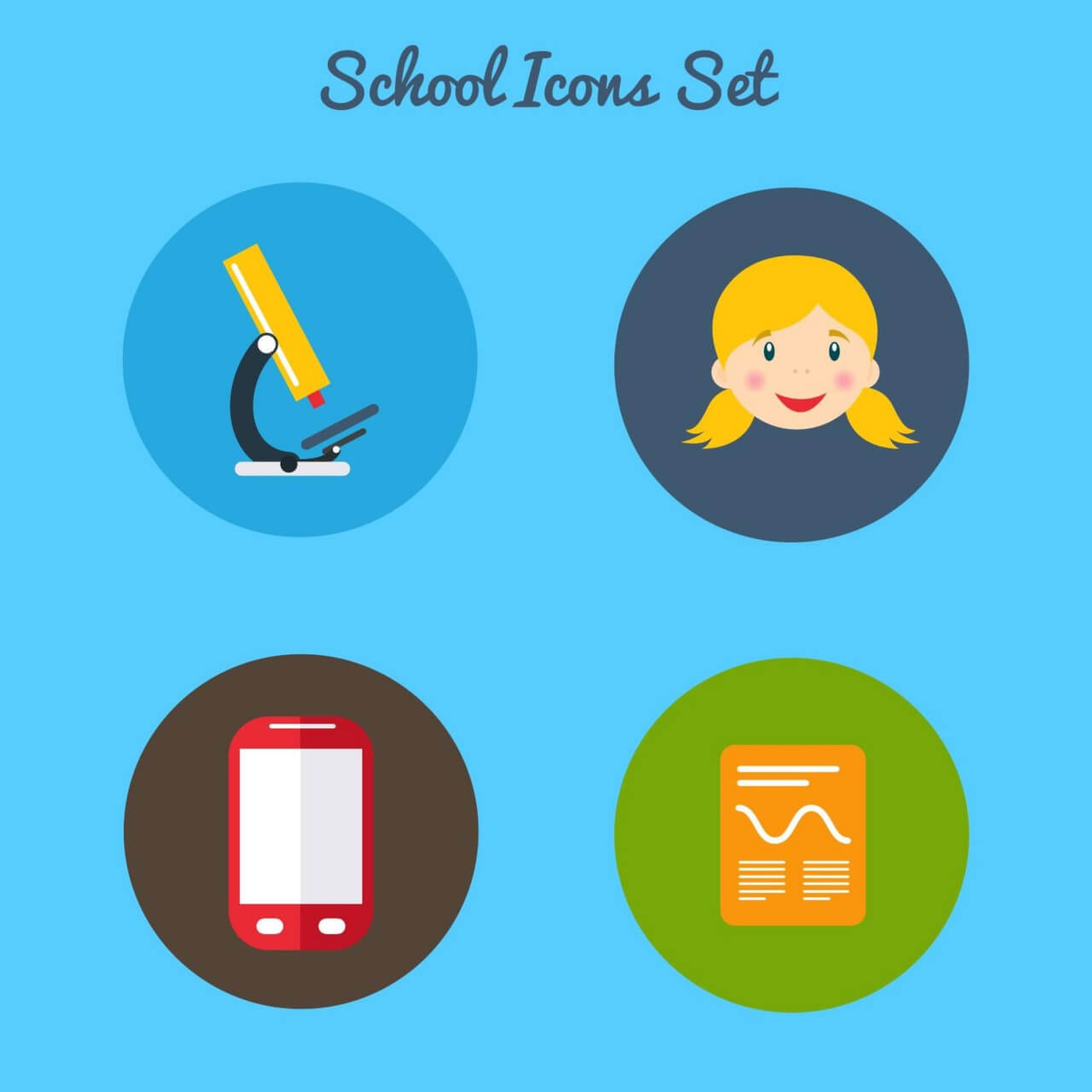 "Free vector ""Flat school icon set"""