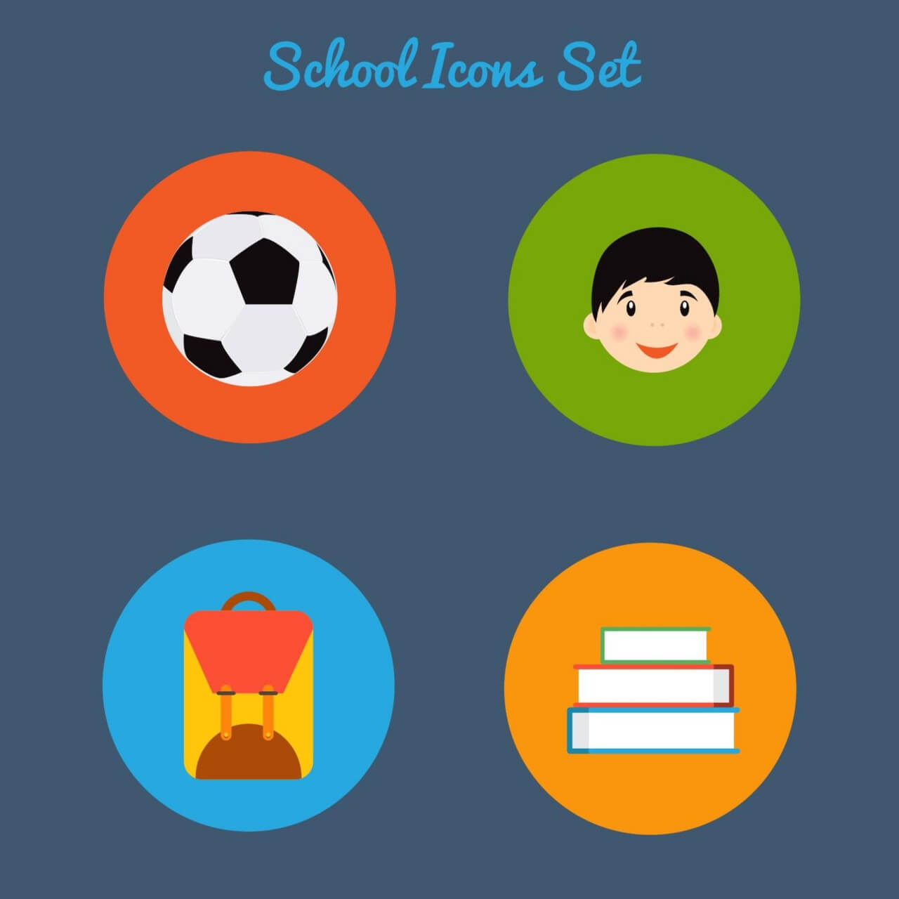 "Free vector ""Flat school icon set"""
