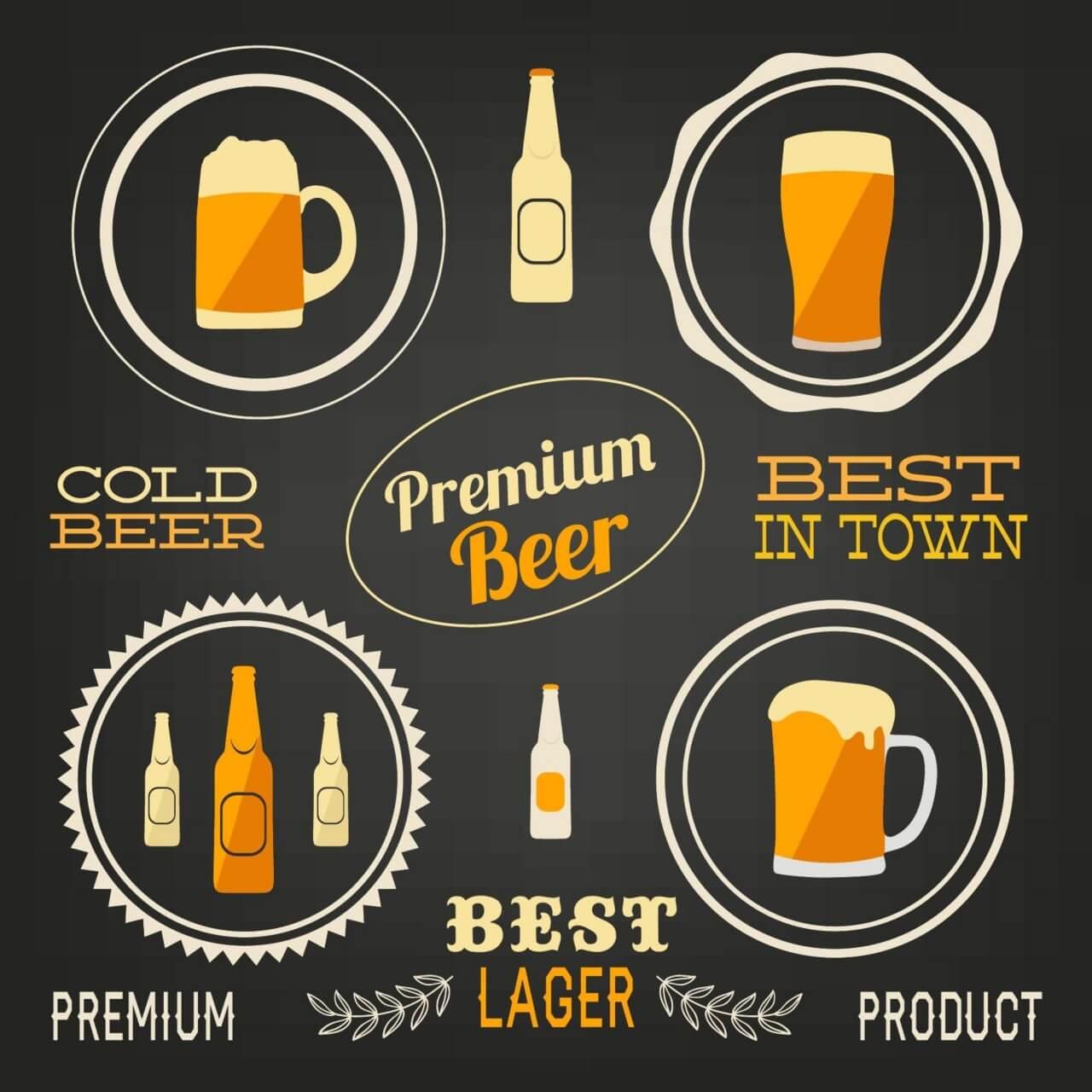 """Free vector """"Beer vector elements, typo set"""""""