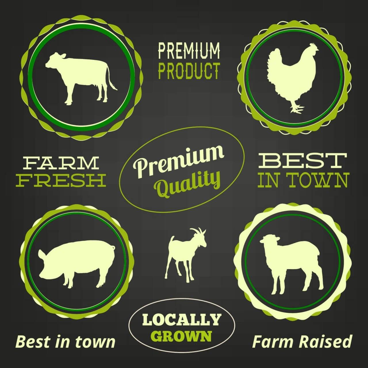 "Free vector ""Farm animals, typo labels set"""