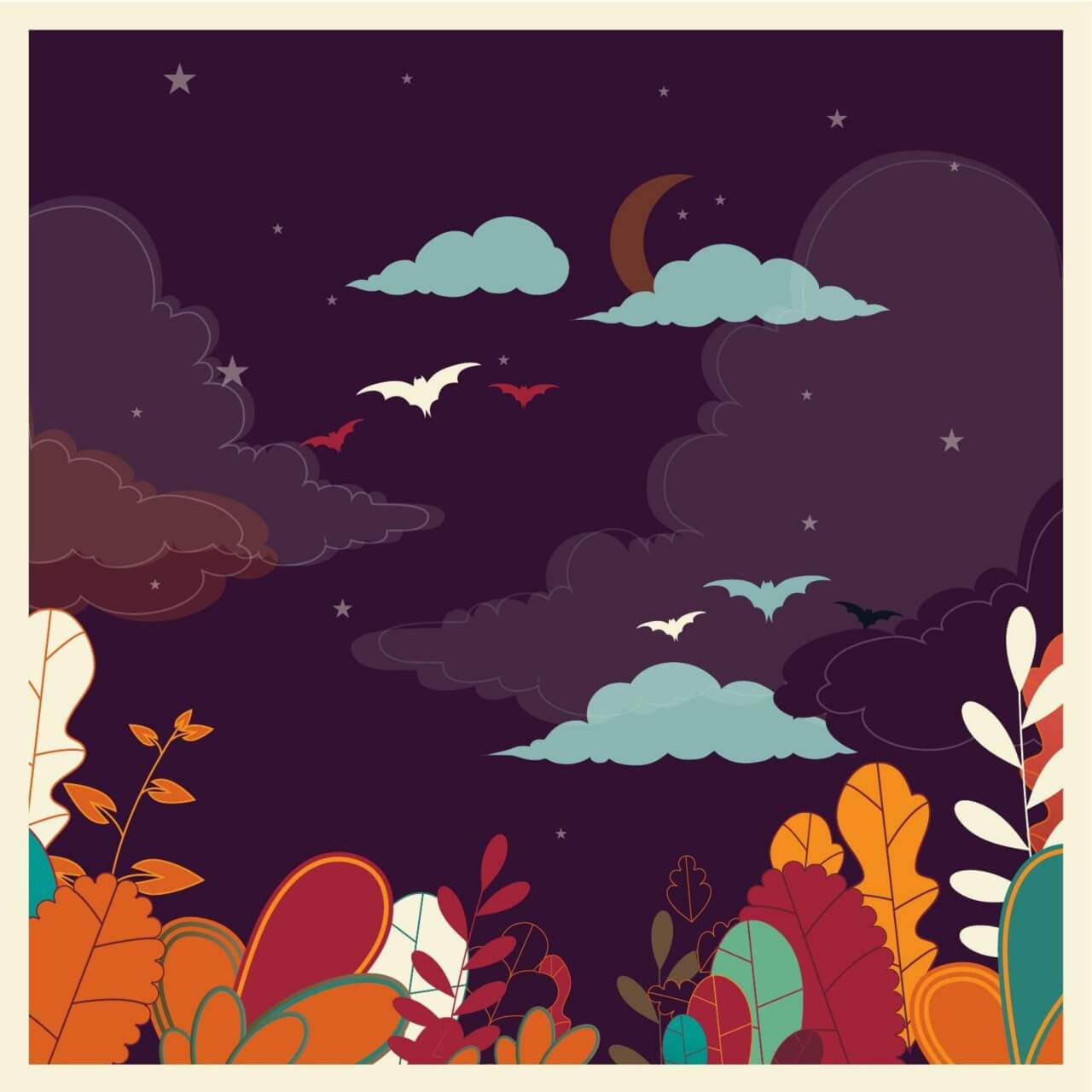 """Free vector """"Landscape with flowers and bats"""""""