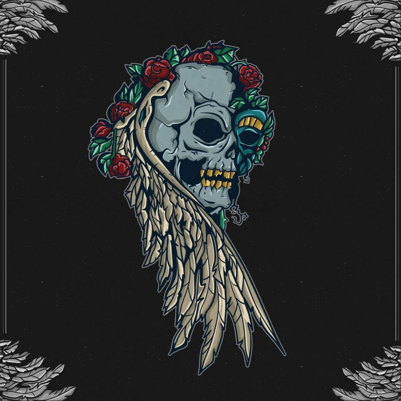 "Free vector ""Vintage skull with floral ornaments and frame"""
