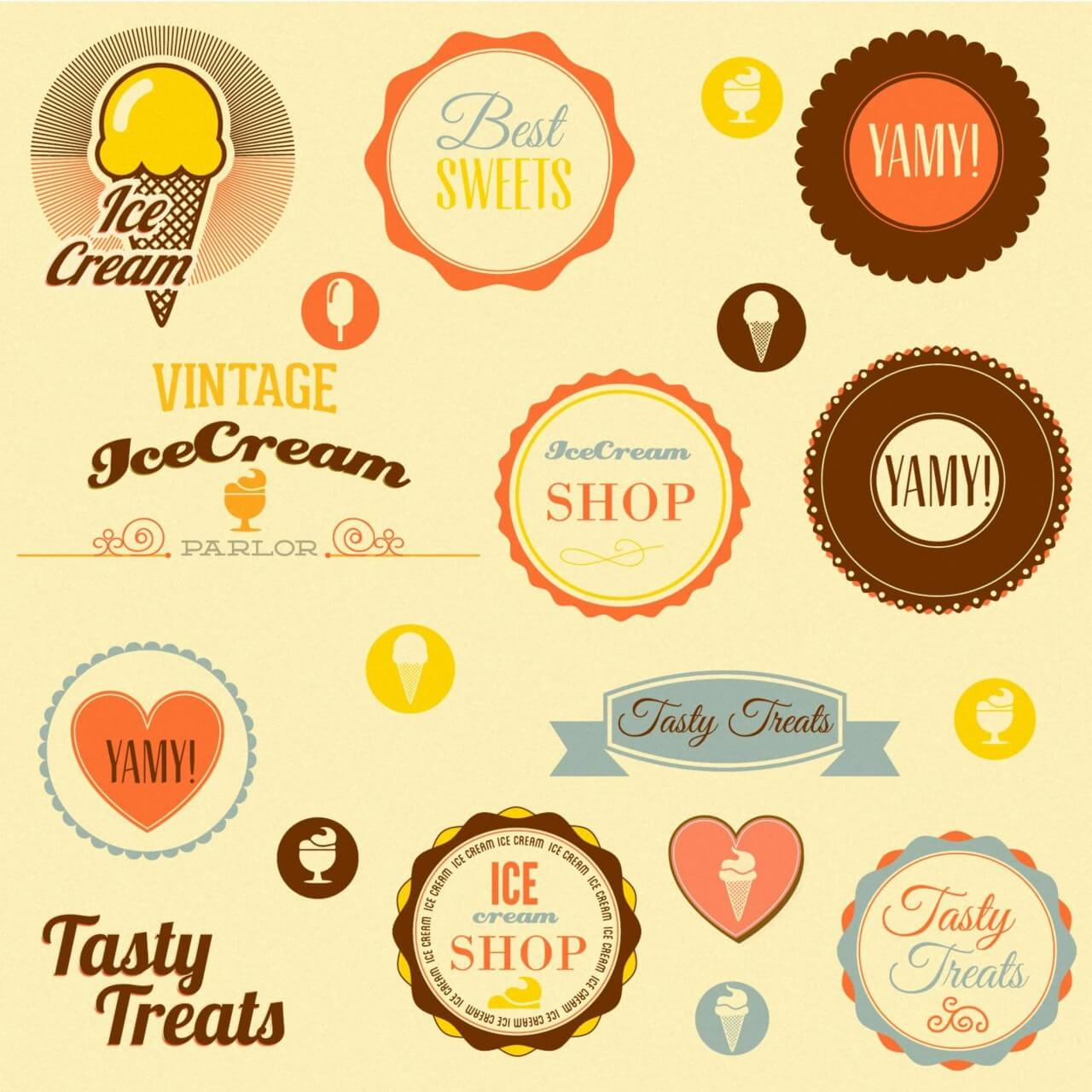 "Free vector ""Retro badges and sweets"""