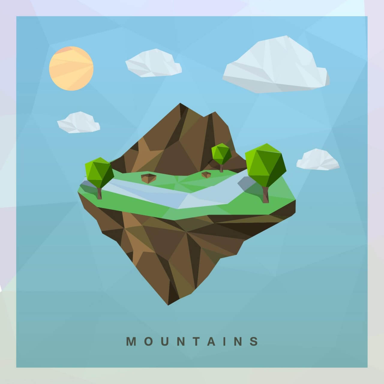 "Free vector ""Isometric mountain Vector Floating Island"""
