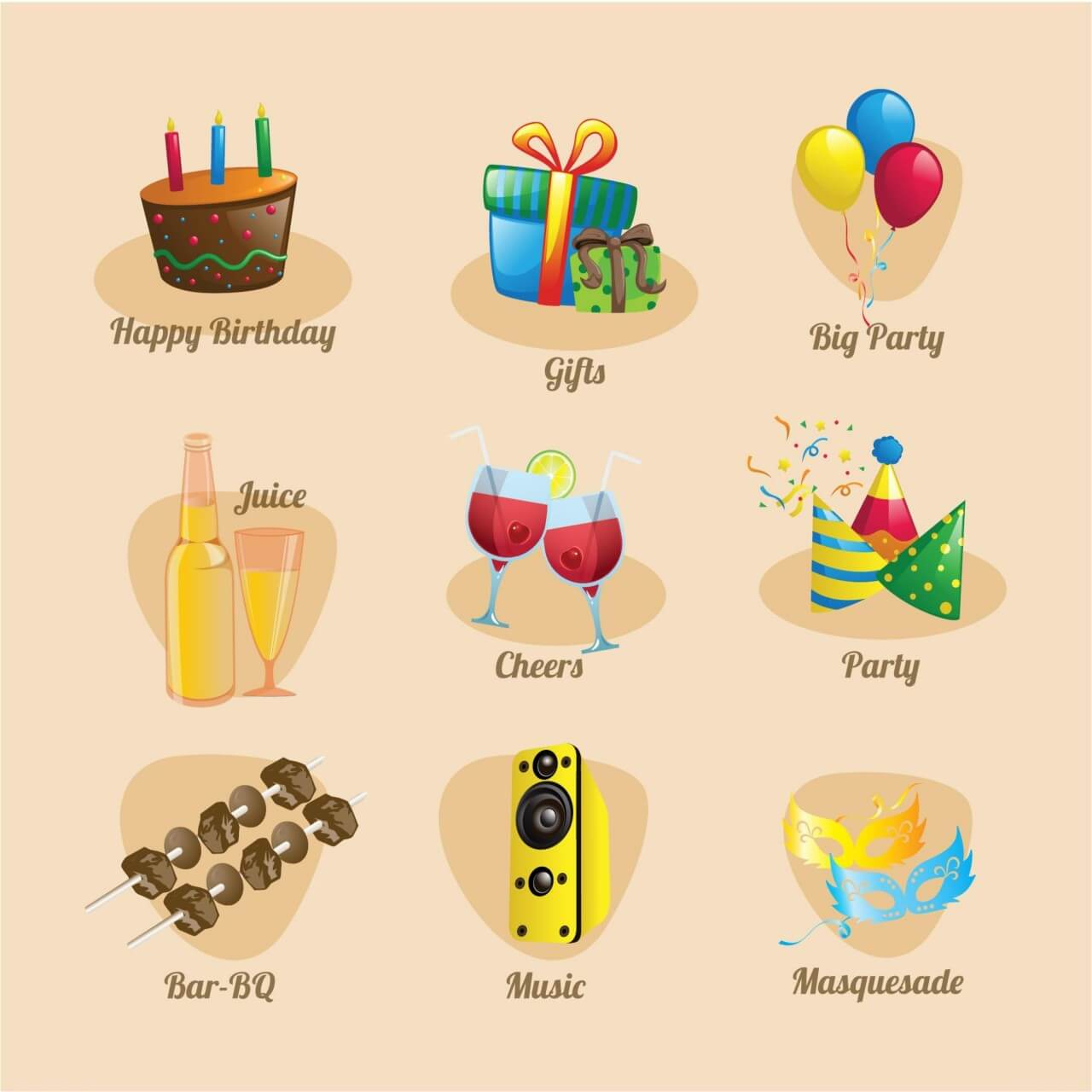 """Free vector """"Party and birthday Icon Set"""""""