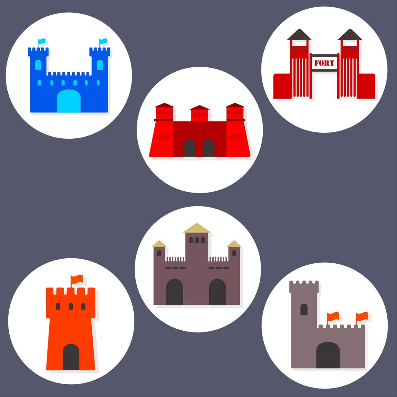 "Free vector ""Flat Fort Icons"""