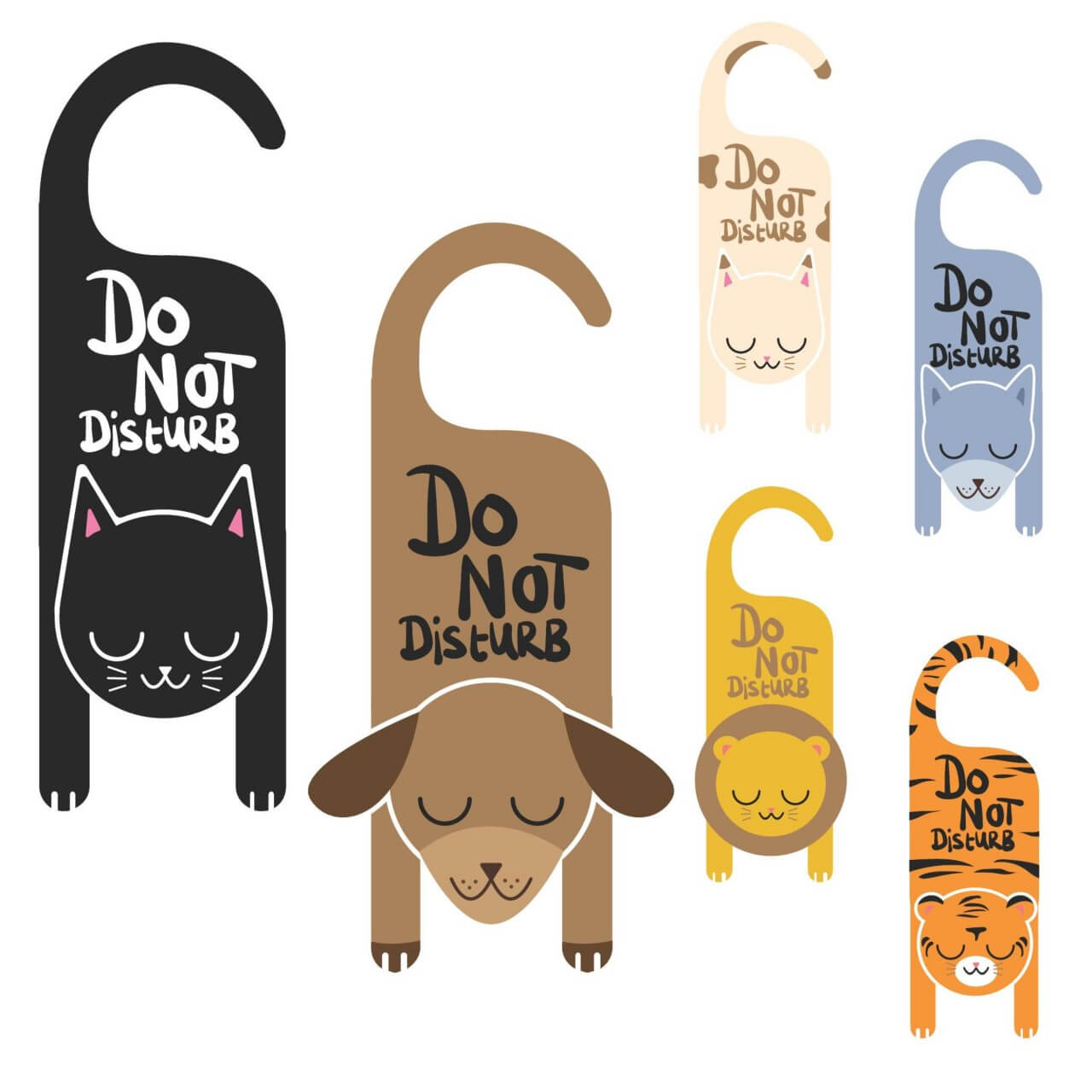 "Free vector ""Do not disturb animal signs"""