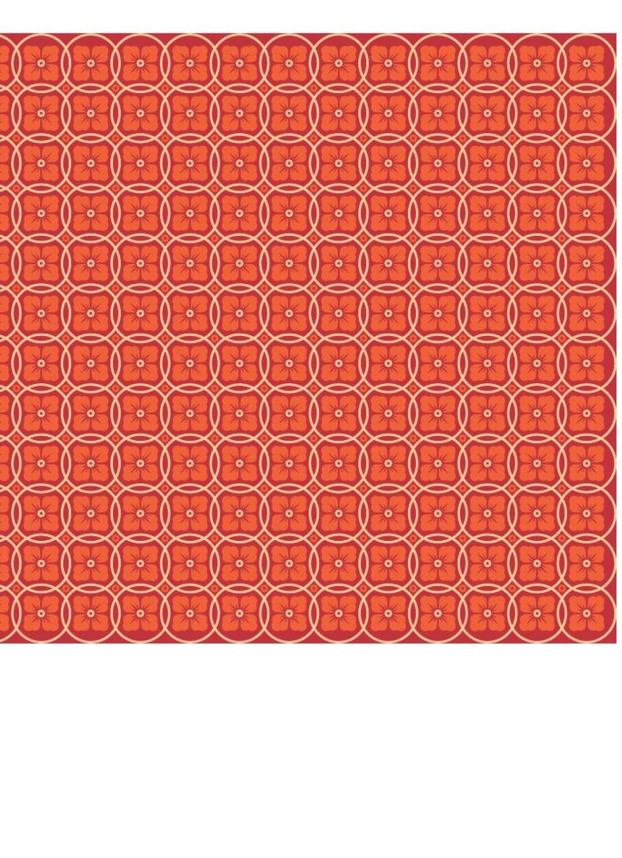 """Free vector """"Asian Floral Orange, Red, and White Pattern"""""""