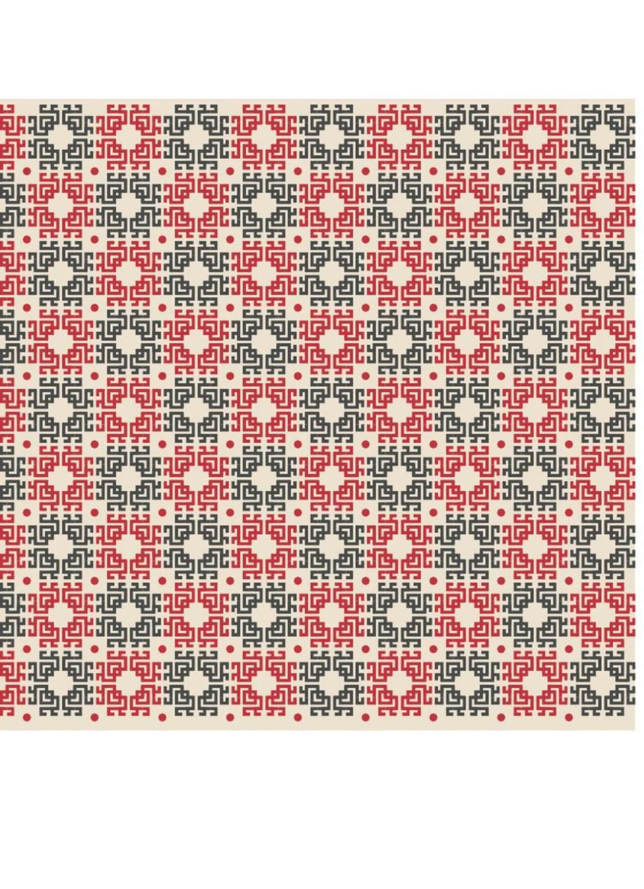 """Free vector """"Asian Red, White, and Black Pattern"""""""