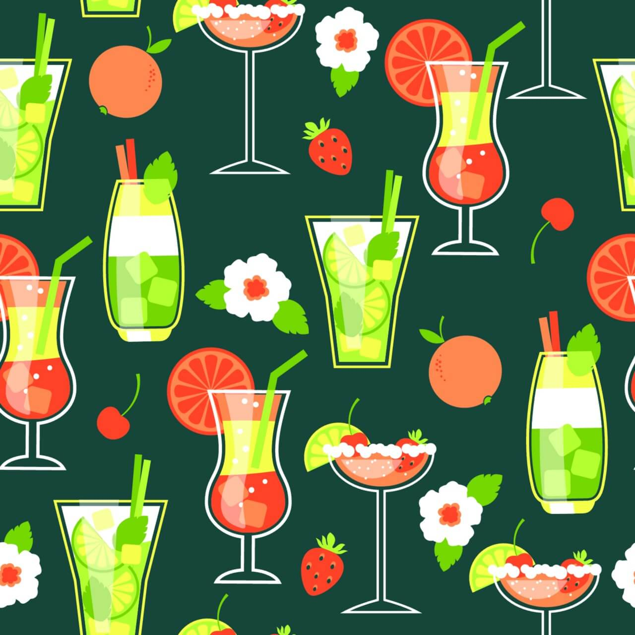 "Free vector ""Summer Cocktails . Seamless pattern."""