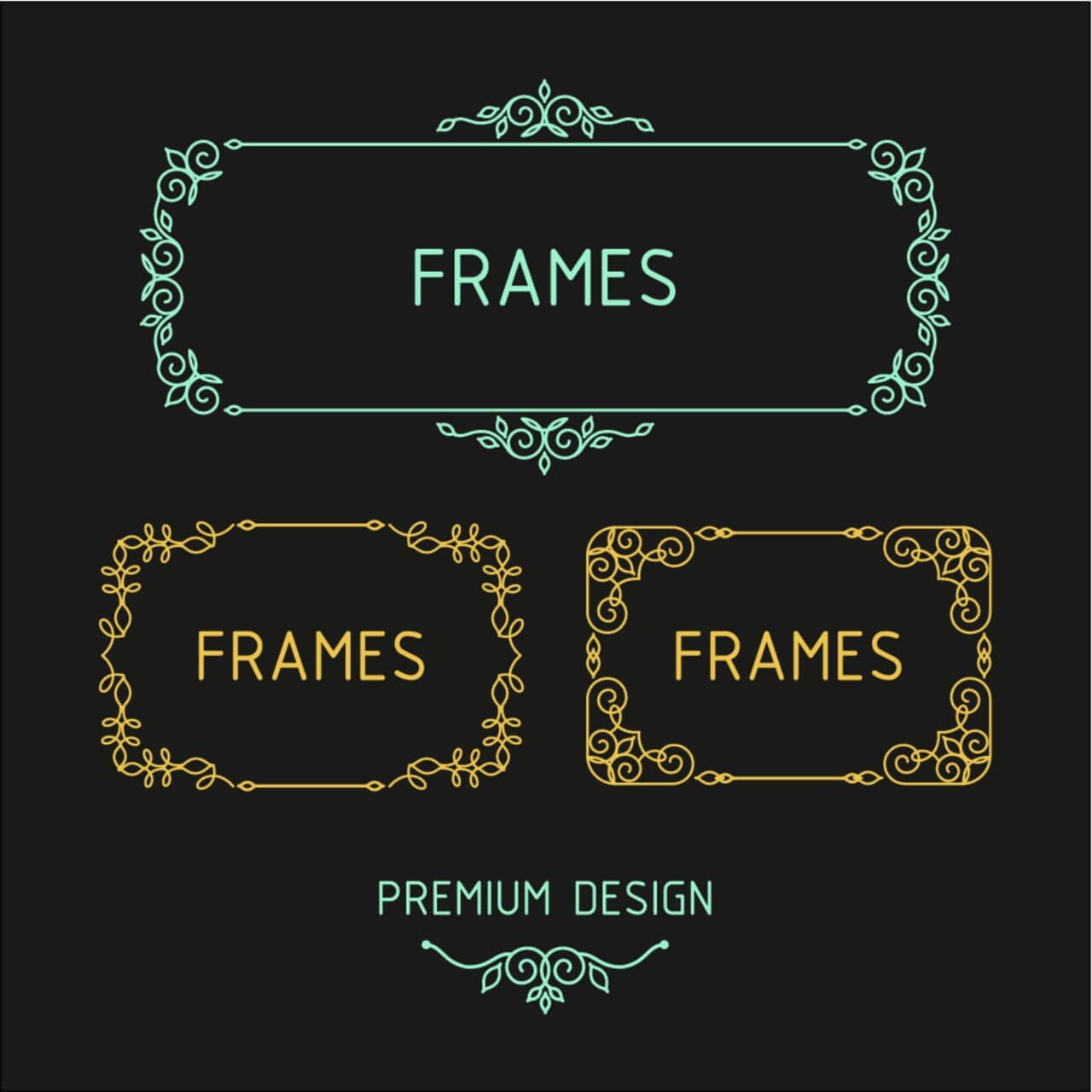 "Free vector ""Vector outline frames. Elements design templates."""