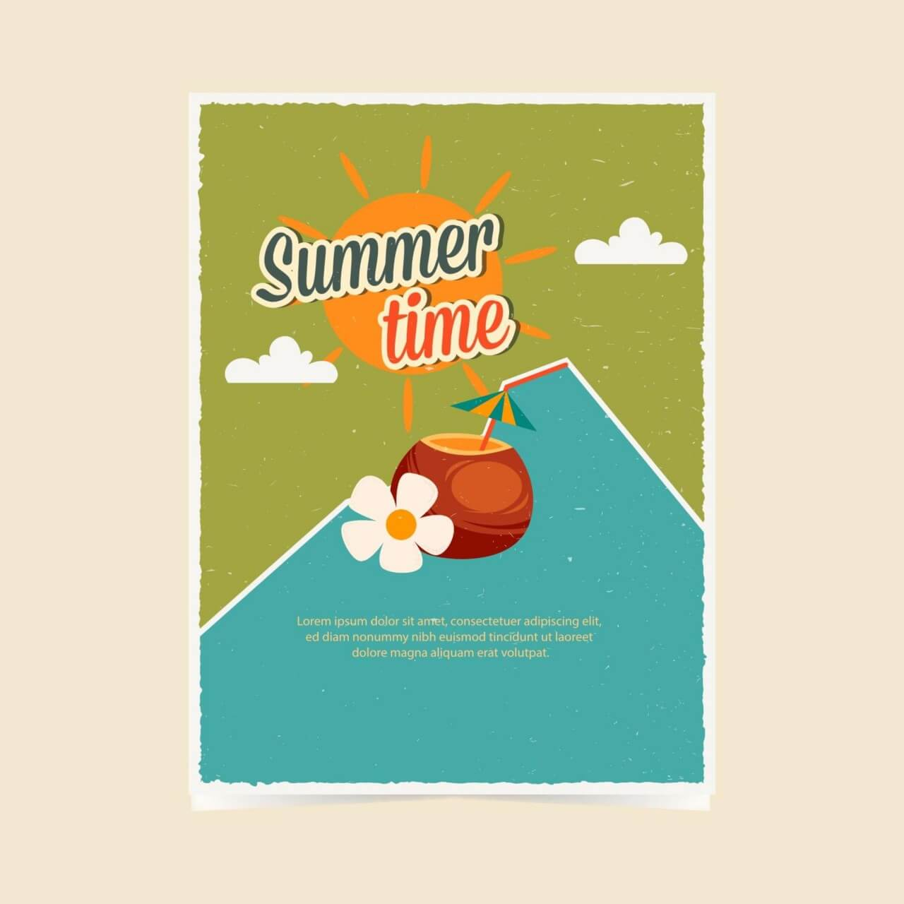 "Free vector ""Summer retro poster"""