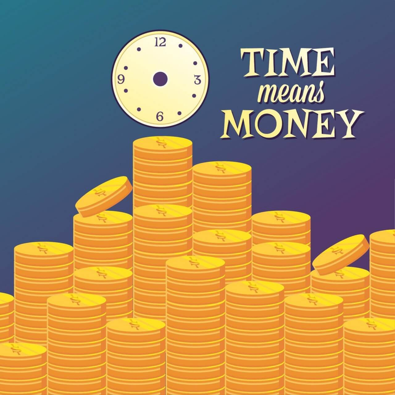"Free vector ""Money illustration with coins and clock"""