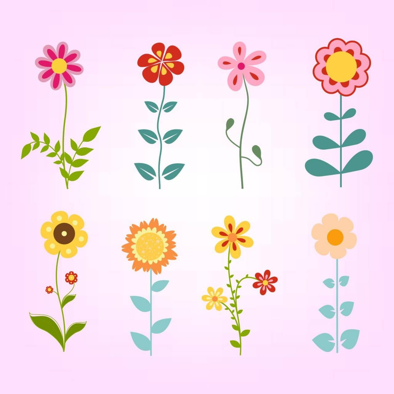 """Free vector """"Hand drawn doodle flowers set"""""""