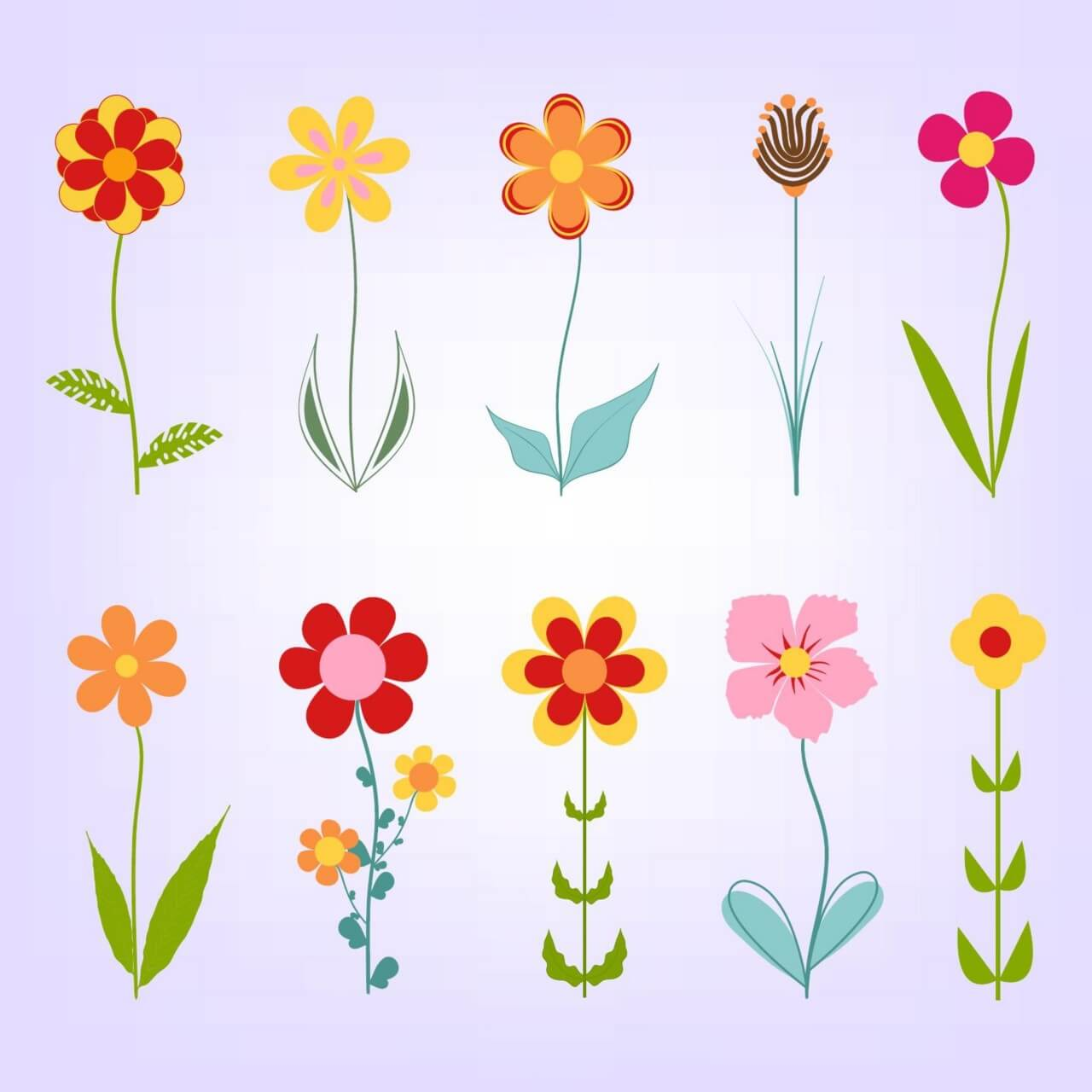 """Free vector """"Hand drawn doodle flowers"""""""