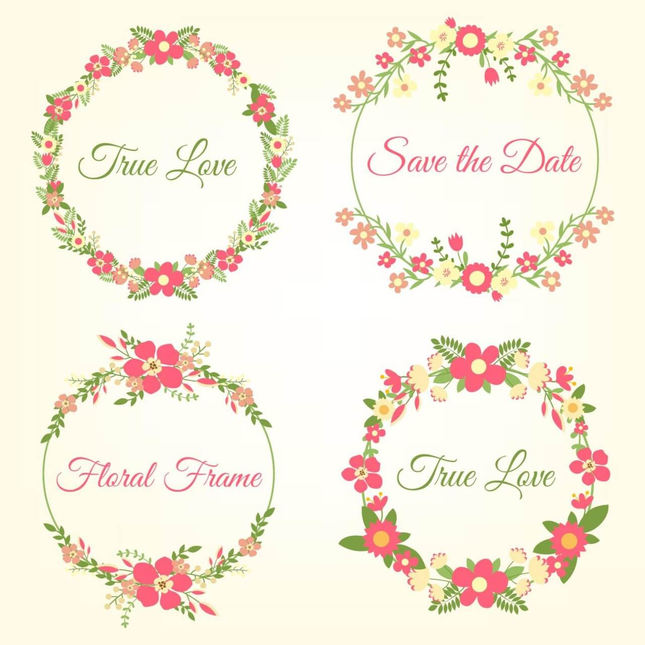 "Free vector ""Wedding hand draw floral frames"""