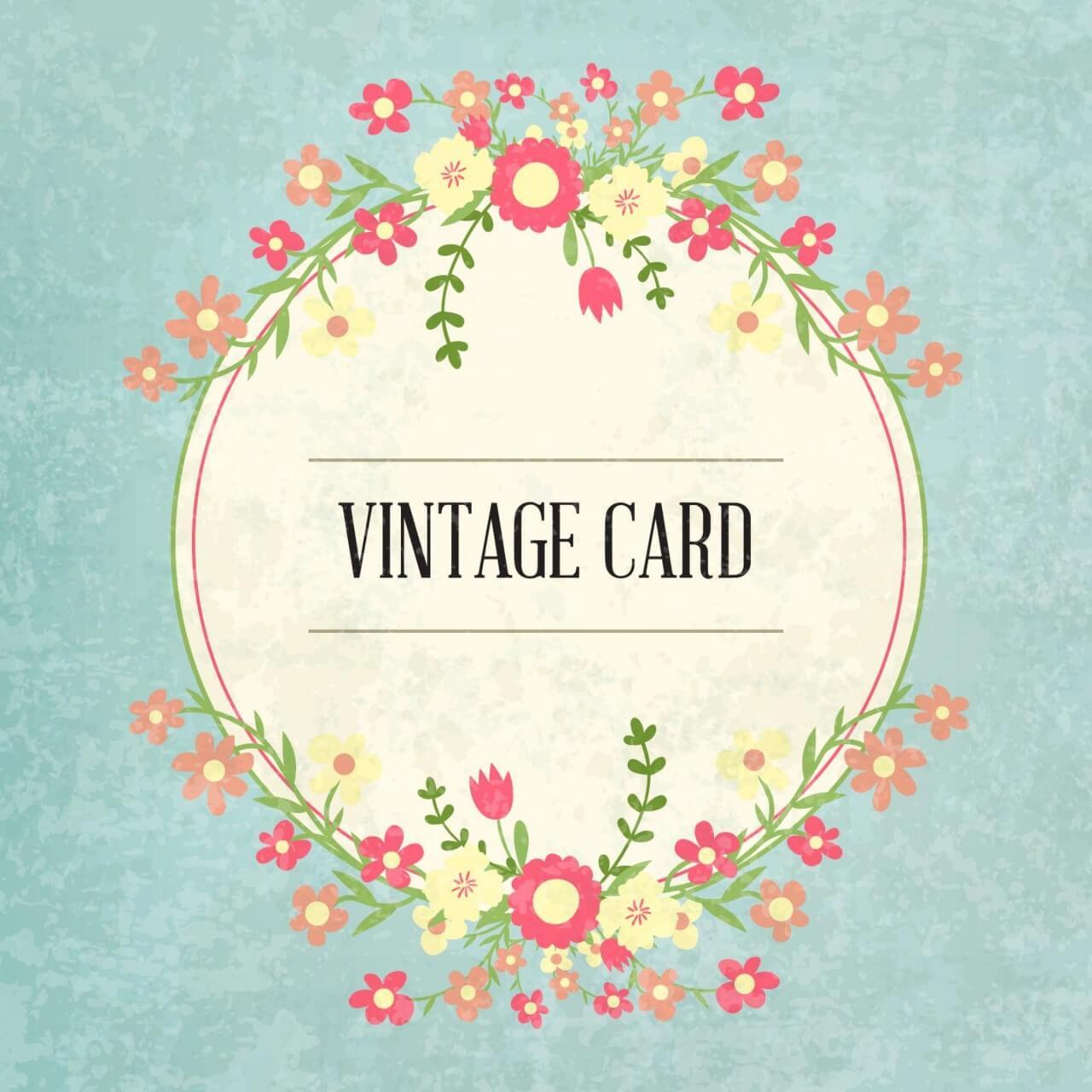 """Free vector """"Floral frame, vintage card"""""""