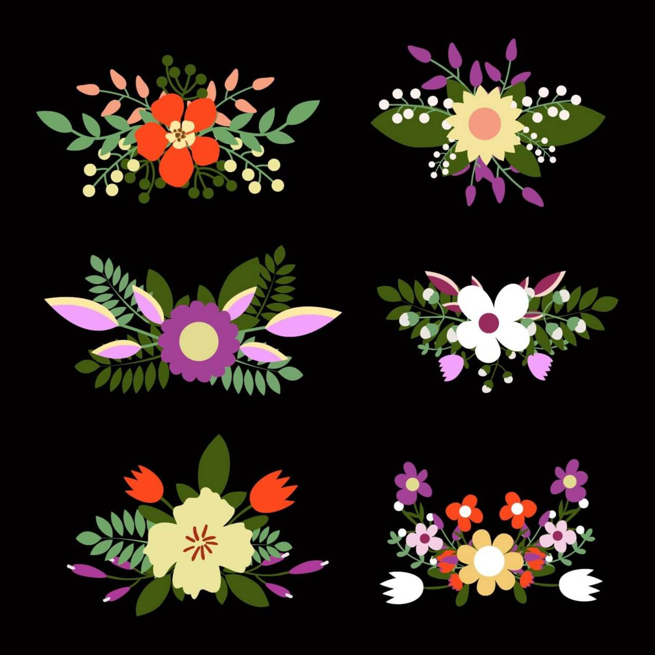 "Free vector ""Cute floral bouquets, retro flowers"""