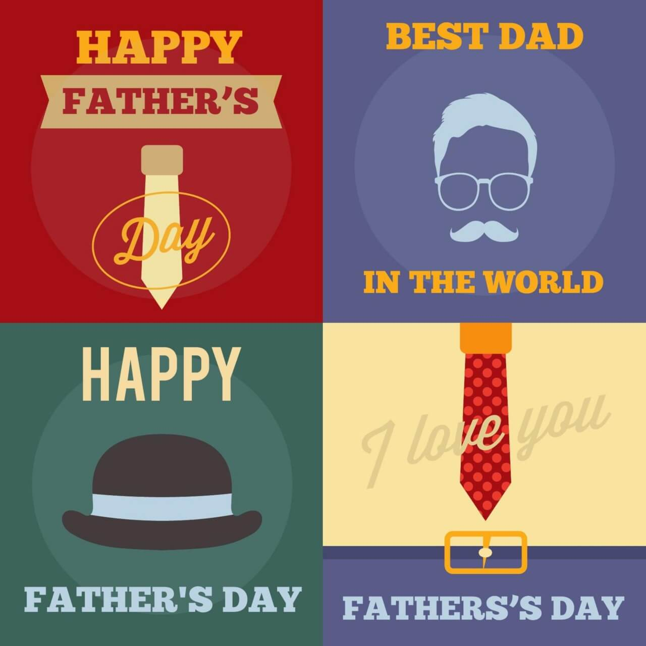 "Free vector ""Father's Day Retro Cards"""