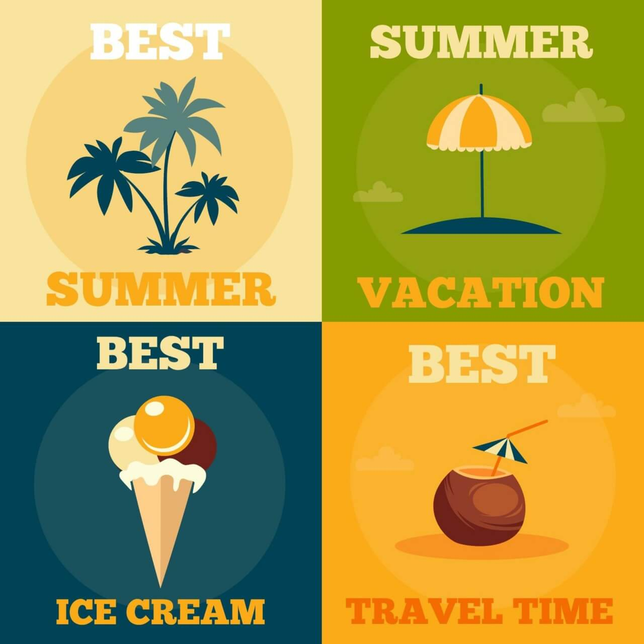 "Free vector ""Summer retro illustrations"""