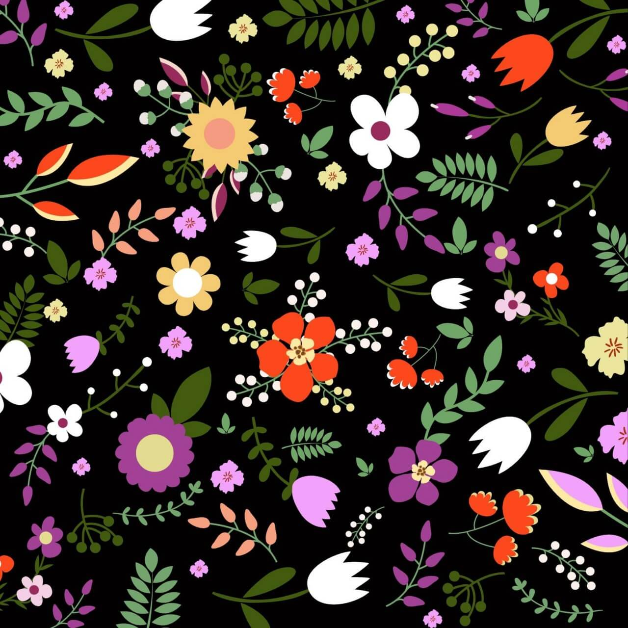 "Free vector ""Hand draw seamless floral pattern on black bgackground"""