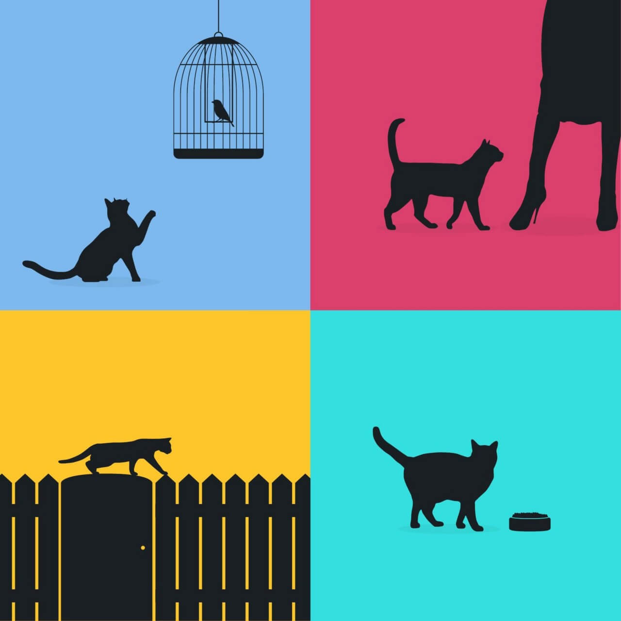 """Free vector """"Cats silhouette retro posters"""""""