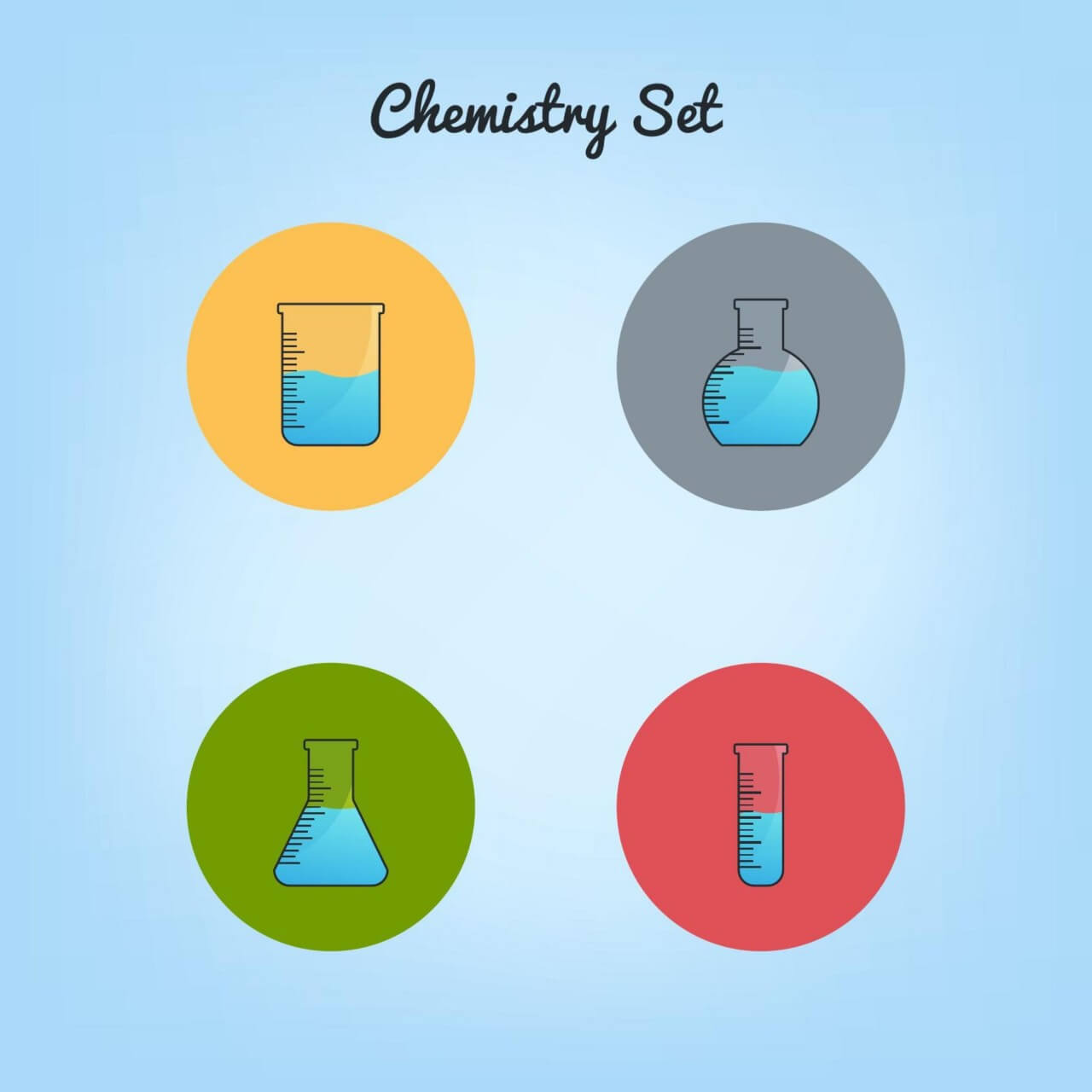 "Free vector ""Chemistry tubes icons set"""