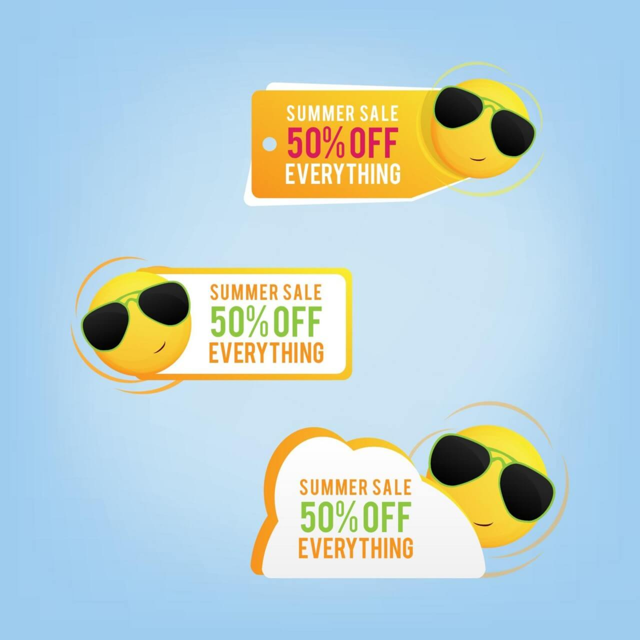 "Free vector ""Summer price tags with a smiling sun"""