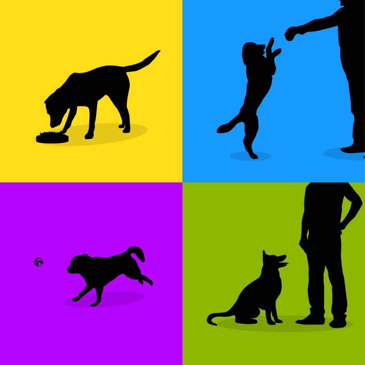 """Free vector """"Dogs silhouette retro posters"""""""