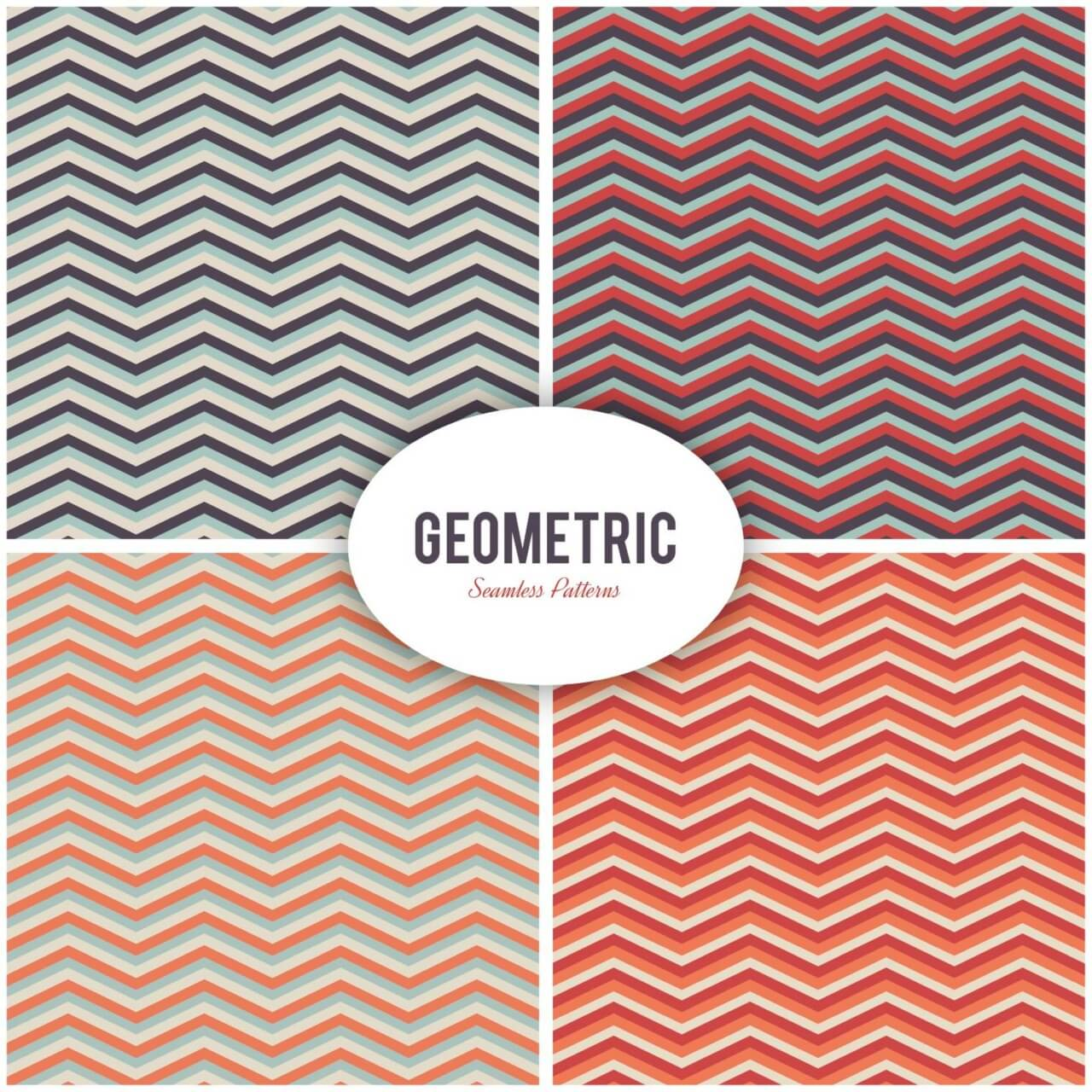 "Free vector ""Seamless vector geometric patterns set"""