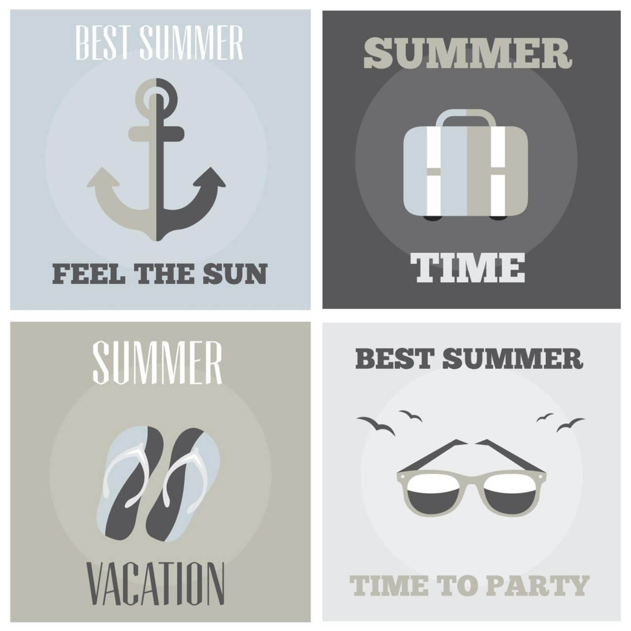 """Free vector """"Summer posters set"""""""