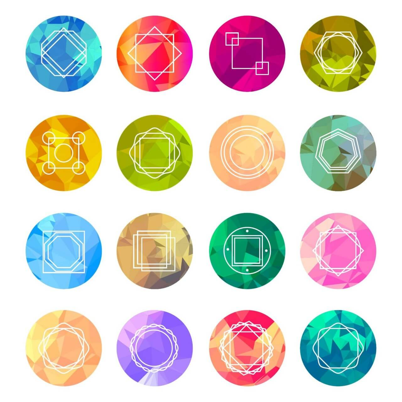 "Free vector ""Abstract Geometric Labels Set With Logo Icons"""