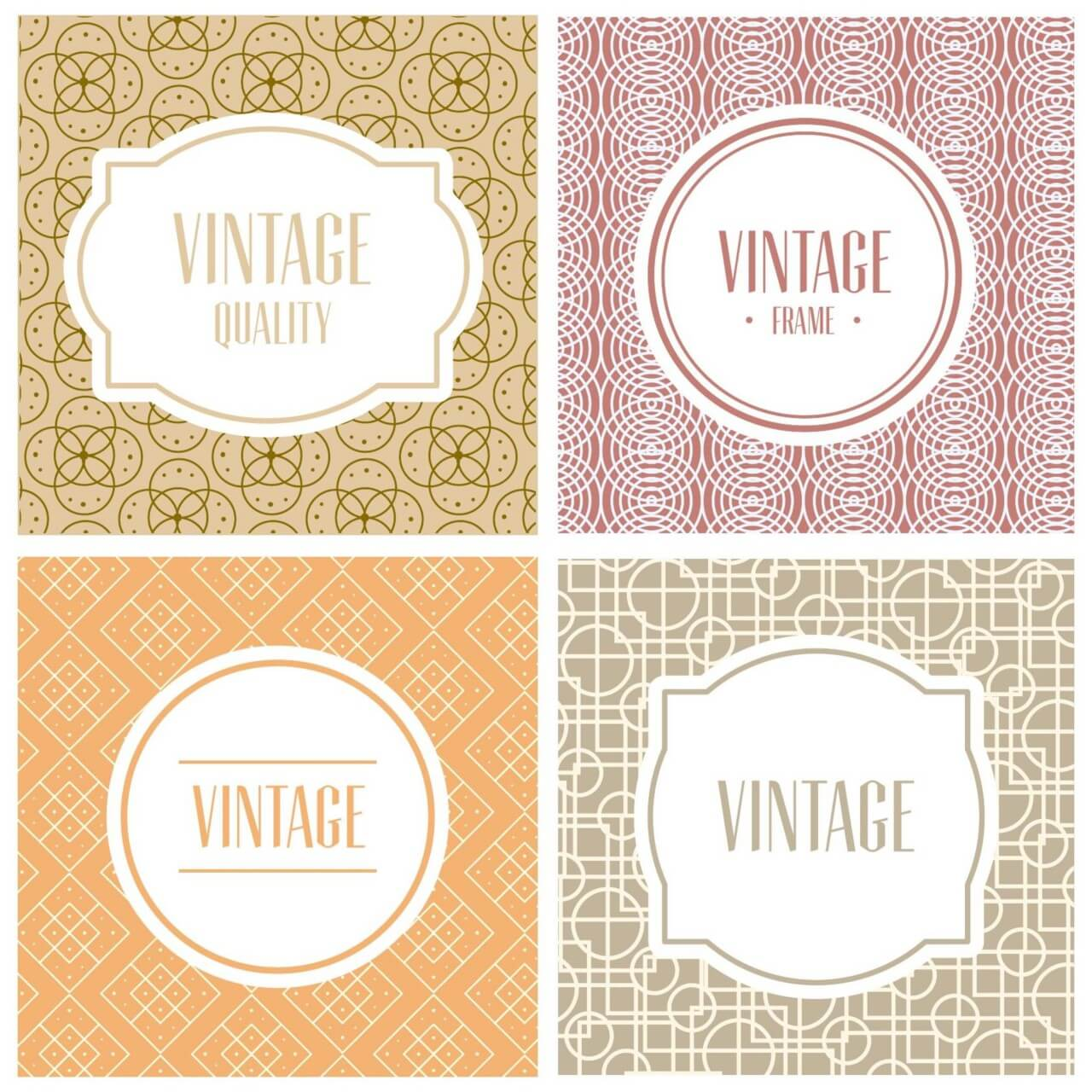 "Free vector ""Labels and badges on simple geometric patterns"""
