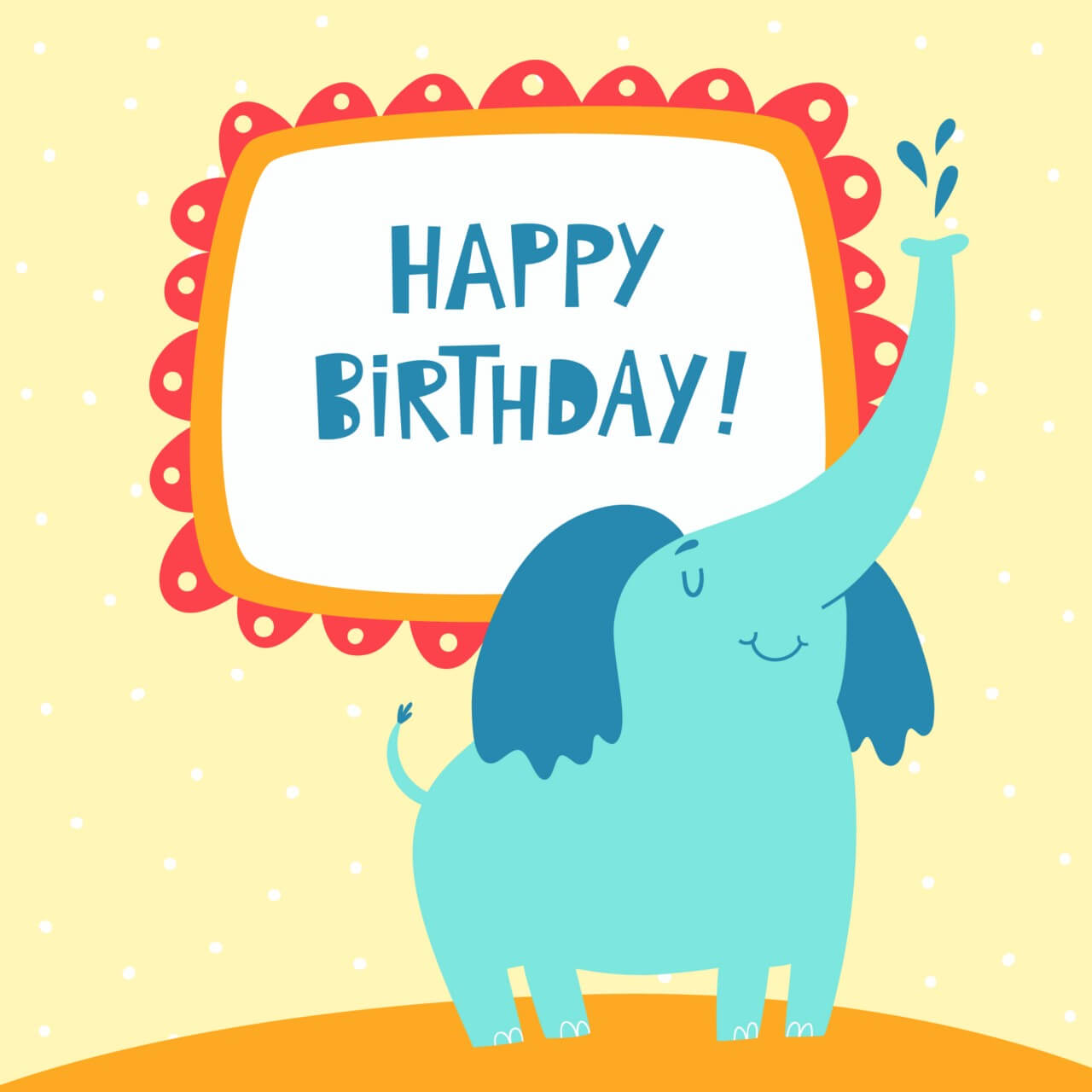 "Free vector ""Happy Birthday card with cute elephant"""