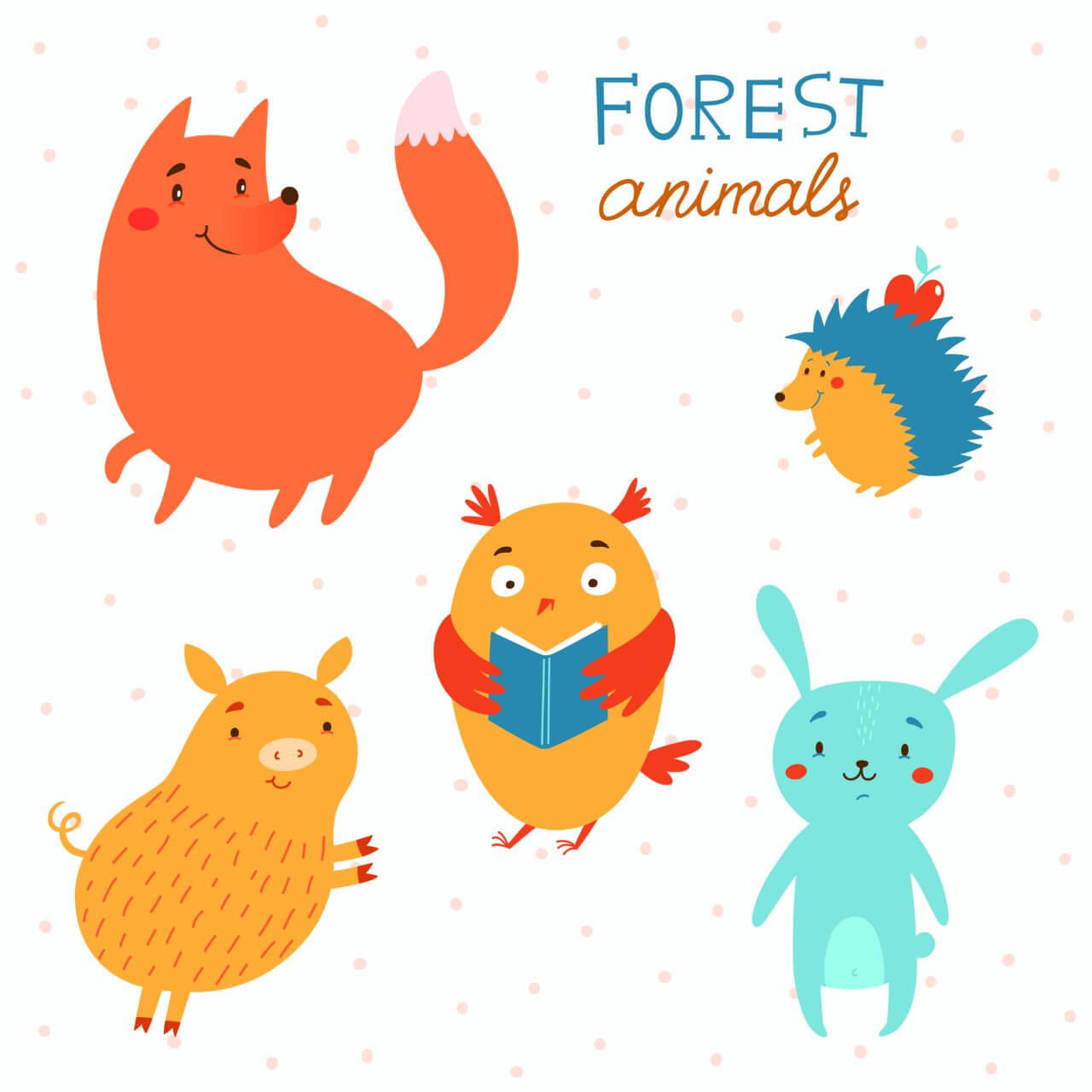 "Free vector ""Forest animals vector set"""