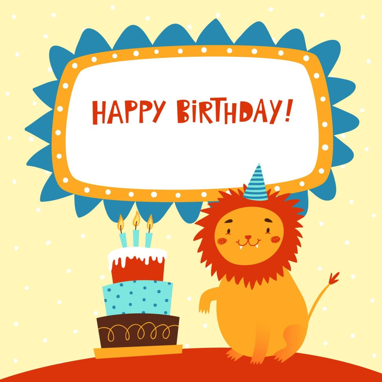 "Free vector ""Happy Birthday card with cute lion"""