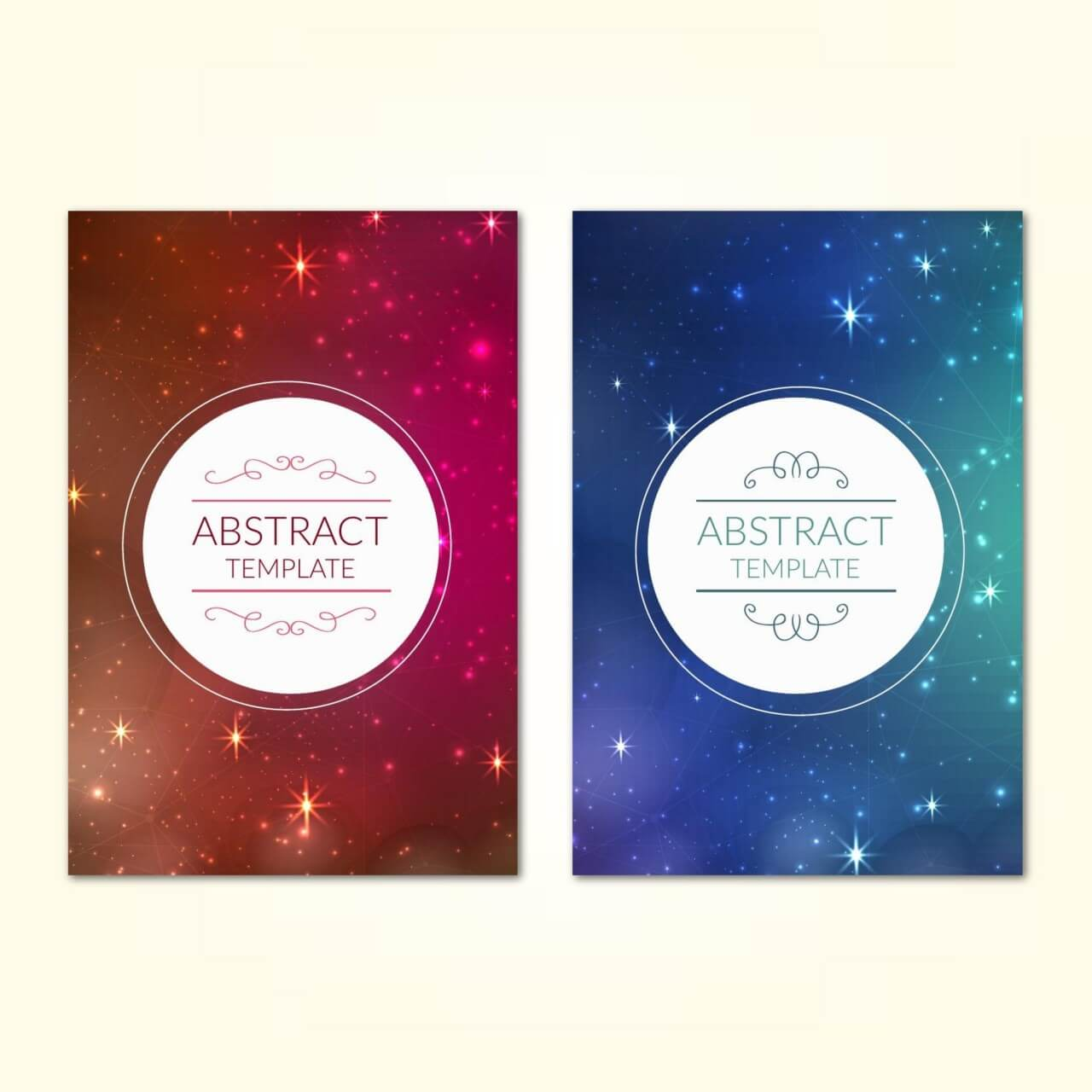 "Free vector ""Posters template with universe starry sky background"""