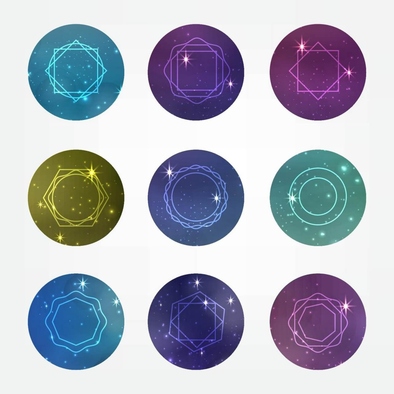 "Free vector ""Starry circles set with Hipster Style Icons for Logo Design"""