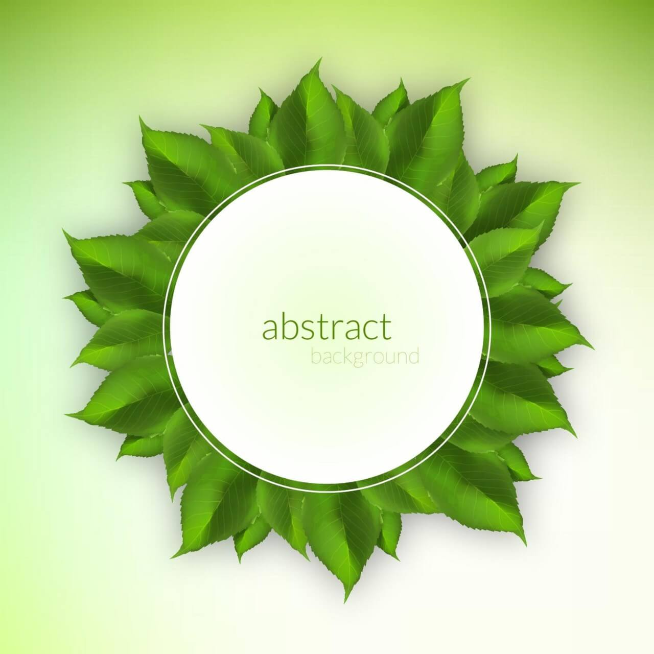 "Free vector ""Fresh green leaves label"""