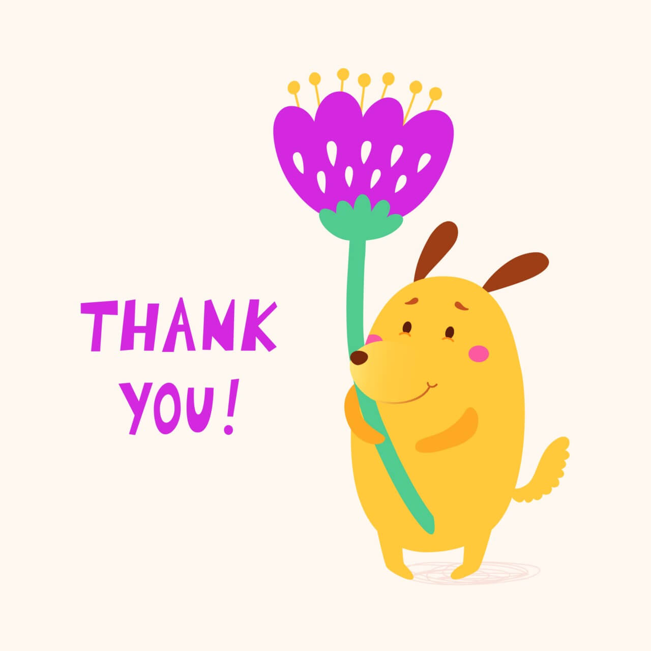 "Free vector ""Thank you vector card with cute dog"""