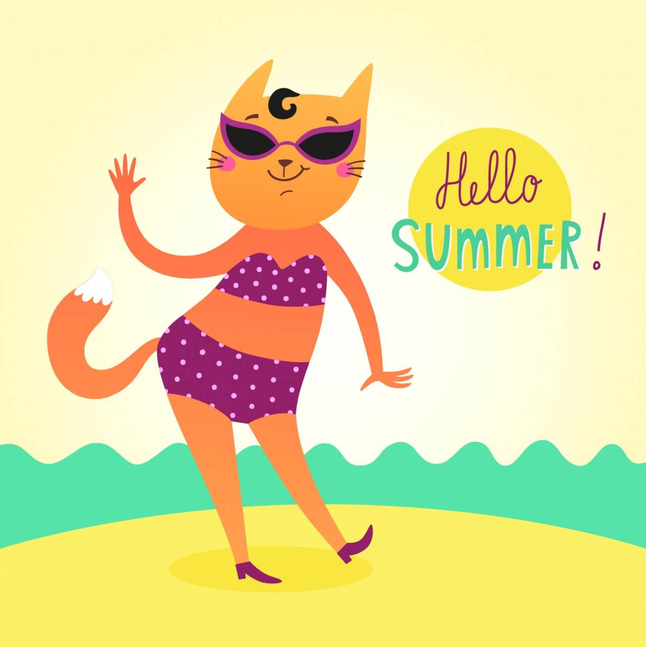 "Free vector ""Hello Summer vector card with funny cat"""