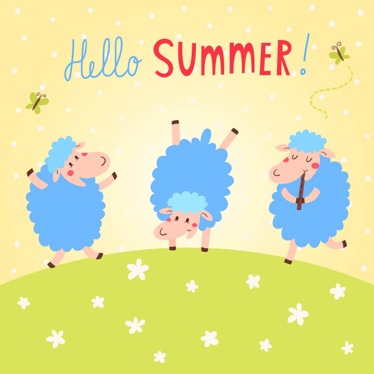 "Free vector ""Hello Summer vector card with cute sheeps"""