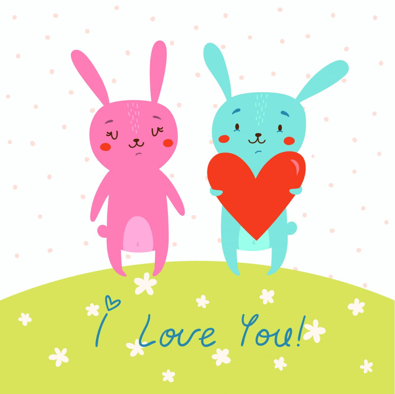 "Free vector ""Vector card with cute bunnies in love"""